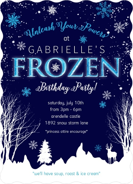 Frozen Winter Storm Kid's Birthday Invitation by PurpleTrail.com