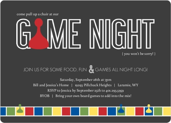 Gray Sorry Game Board Game Night Invitation by PurpleTrail.com