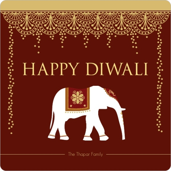 Paisley Patterned Photo Diwali Greeting Card by PurpleTrail.com