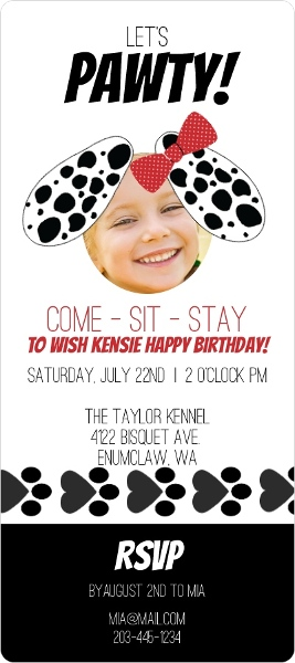 Puppy Adoption Kid's Party Invitation by PurpleTrail.com