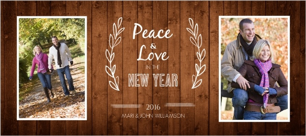 Simple Rustic New Year Photo Card by PurpleTrail.com