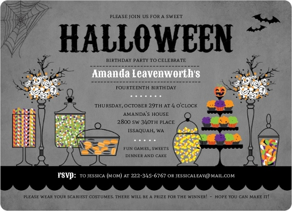 Sweet Candy Station Halloween Birthday Party Invitation By PurpleTrail