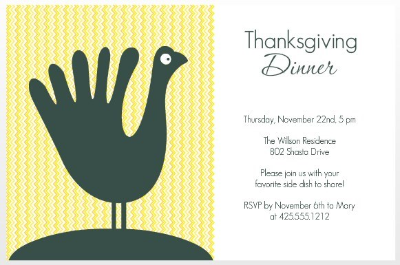 hand turkey thanksgiving invitation