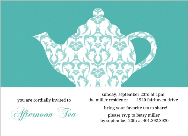 Turquoise Damask Tea Party Invitation by PurpleTrail.com
