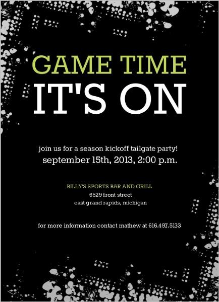 Black Tailgate Party Football Invitation by purpletrail.com