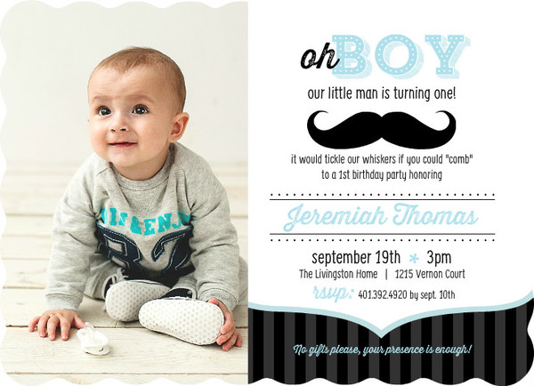 Blue And Black Moustache 1St Birthday Invitation By Purpletrail