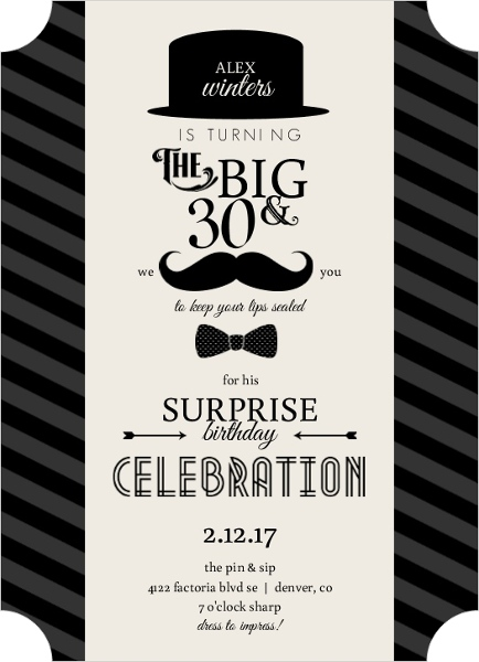 Bowler Hats And Mustaches Surprise Birthday Invitation