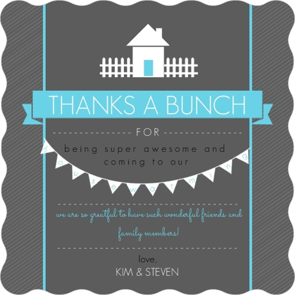 Housewarming party cocktail and beverage tips bright blue dark gray housewarming thank you card by purpletrail stopboris Image collections