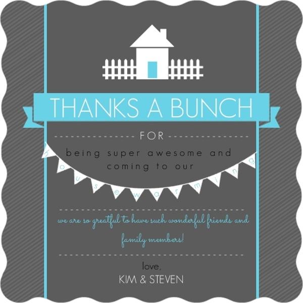 Bright Blue Dark Gray Housewarming Thank You Card by purpletrail.com