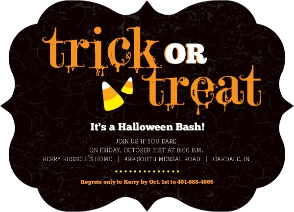 Candy Corn Trick or Treat Halloween Party Invitation by PurpleTrail.com