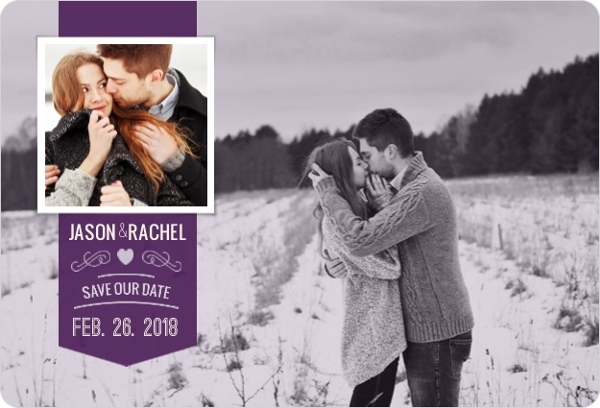 Floral Silhouette Save The Date Card
