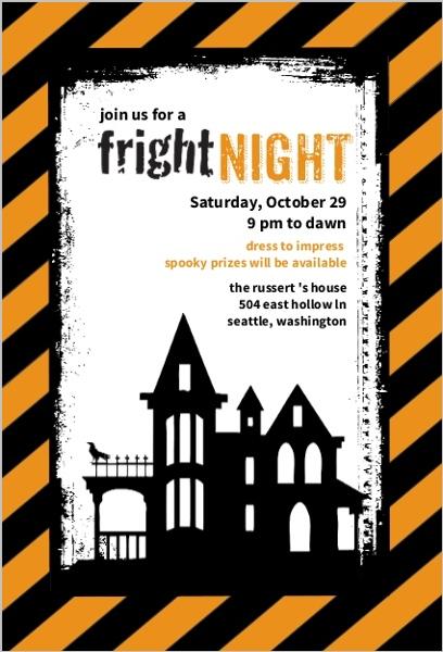 Fright Night Happy Halloween Invitation by PurpleTrail.com