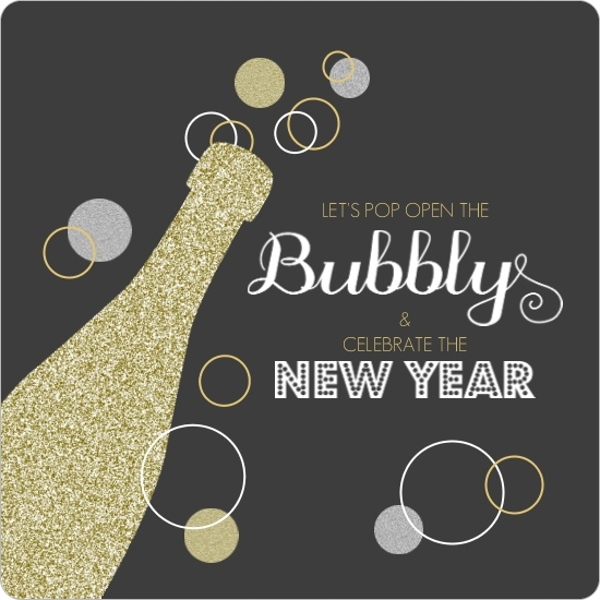 Gold Glitter Champagne Bubbly New Years Invitation by PurpleTrail.com