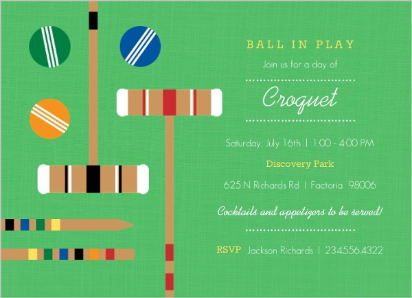 Green Croquet Set Game Day Invitation by PurpleTrail.com