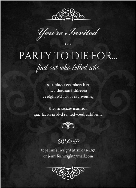 Murder mystery themed party decorations murder mystery black dinner party invitation by purpletrail stopboris Images