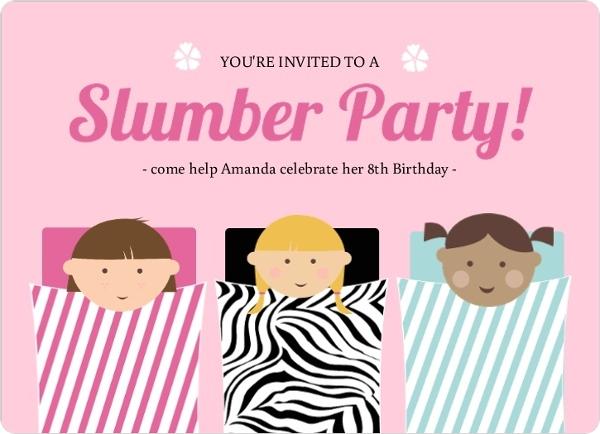 Pink Sleeping Bag Slumber Party Invitation by PurpleTrail.com