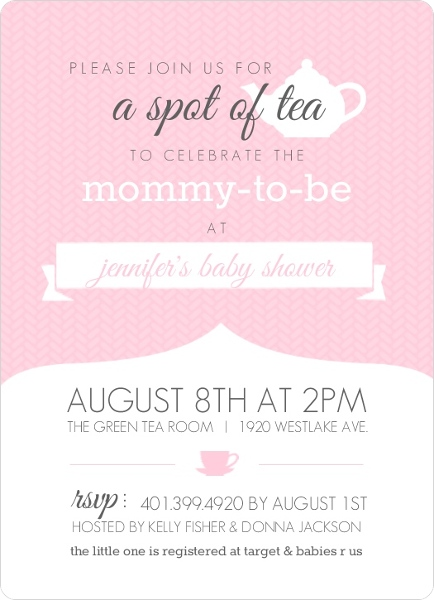 Pink And White Kettle Tea Party Invitation