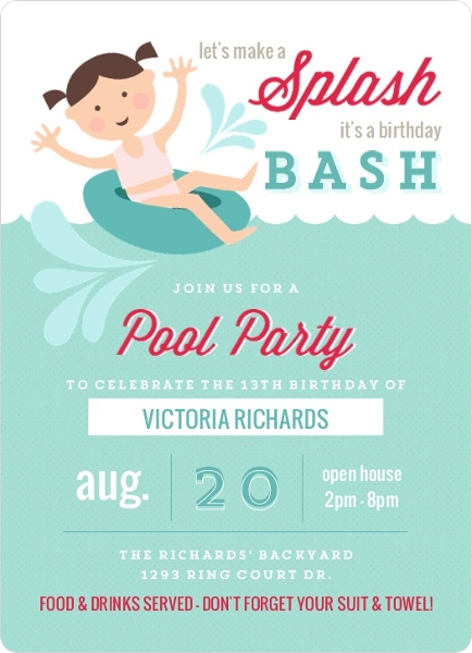 Playful Inner Tube Pool Party Invitation by PurpleTrail.com