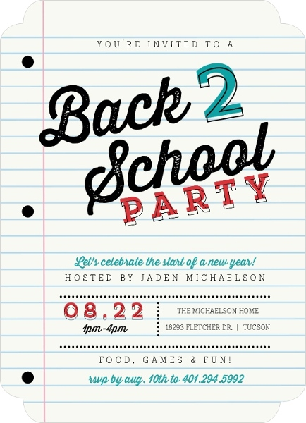 School Paper Party Back To School Invitation By PurpleTrail.com