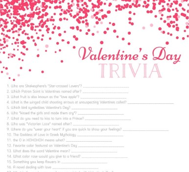 valentines day trivia game free printable download - Valentines Day Game