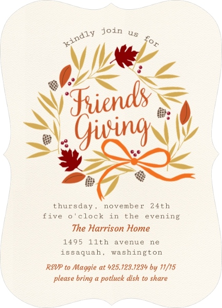 Thanksgiving card wording ideas from purpletrail friendsgiving harvest wreath thanksgiving invitati742301062241largebracket reheart Gallery