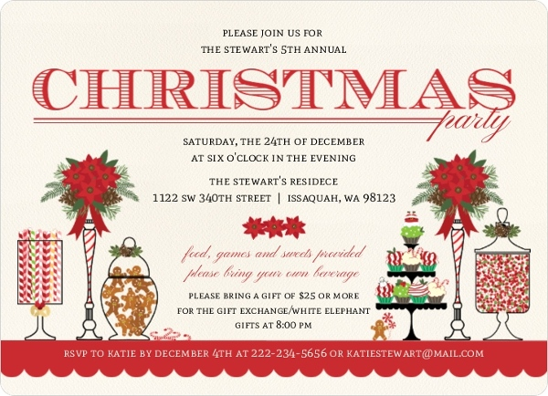 Holiday Sweets Bar Holiday Party Invitation