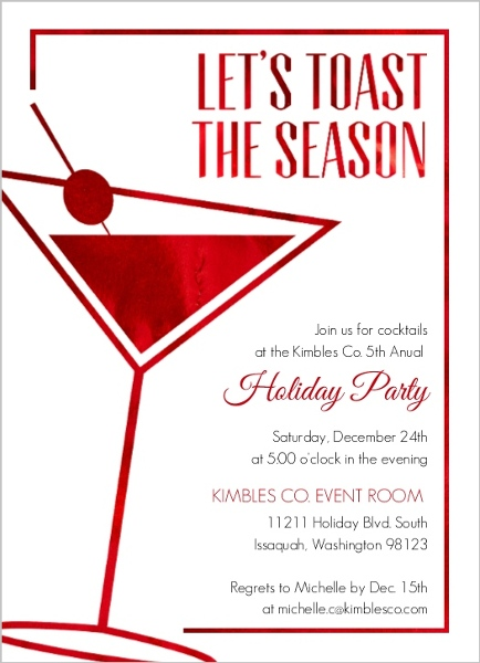 Office holiday party invitation wording ideas from purpletrail modern faux red foil business holiday party invita66281896341large stopboris