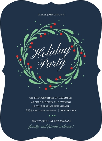 Christmas party invitation wording from purpletrail whimsical mistletoe wreath holiday party invitatio703561068621largebracket holiday party invitations stopboris Gallery