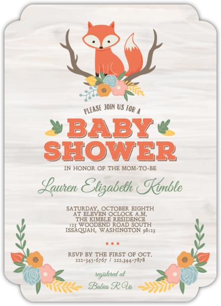 Cute Fox Woodland Baby Shower Invitation