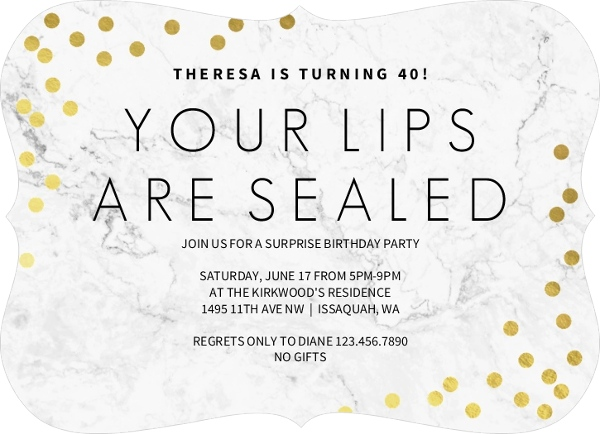 Lips Sealed Surprise Birthday Invitation by PurpleTrail