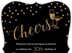 Happy Hour Drinks Birthday Invitation