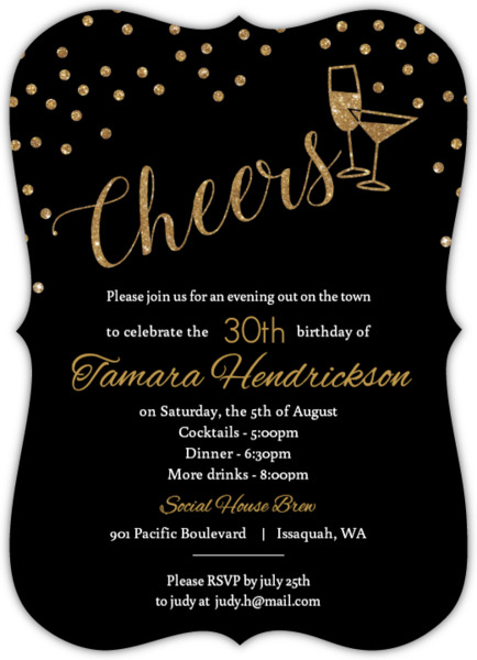 Happy Hour Drinks Birthday Invitation