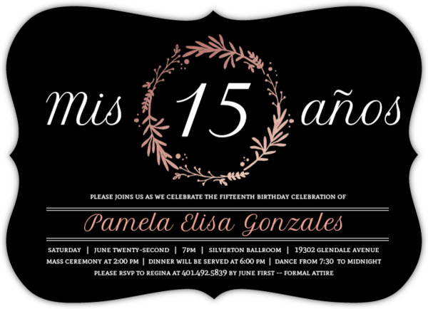Rose Foil Quinceañera Party Invite