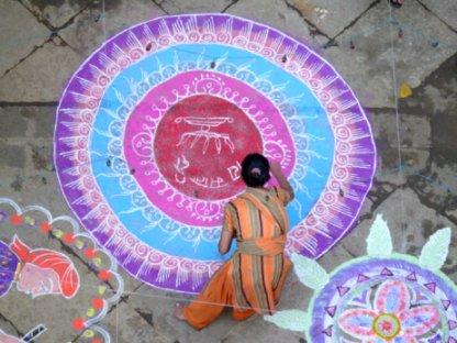Rangoli Woman Colorful Pink Blue Purple Rangoli Design