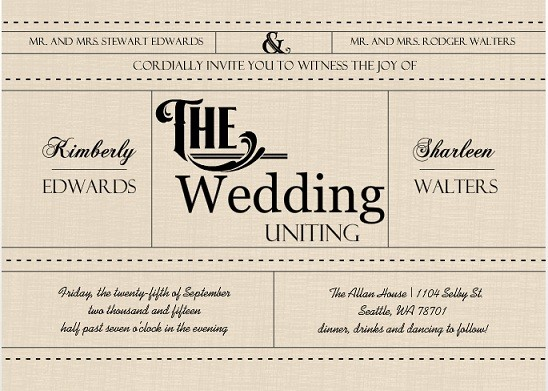 Western Love Gay Wedding Invites