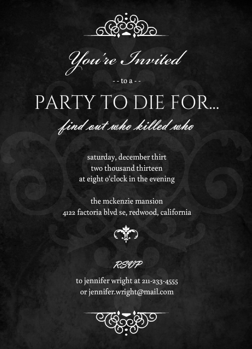 Murder Mystery Dinner Party Ideas Part - 22: Murder Mystery Black Dinner Party Invitation By PurpleTrail.com.