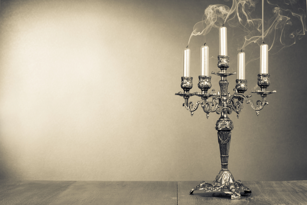 Murder Mystery Dinner Party Ideas Part - 44: Murder Mystery Bridal Shower Ideas Vintage Candelabrum With Five Reek  Candles Sepia Photo.