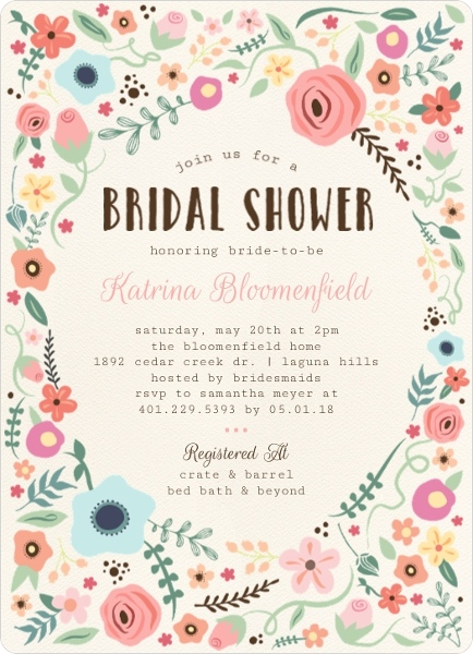 whimsical floral garden frame bridal shower invitation by weddingpaperiecom
