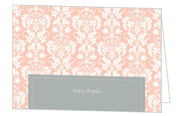 Peach And Grey Damask Wedding Thank You Card By WeddingPaperie