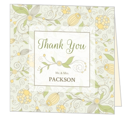 whimsical summer floral wedding thank you card by weddingpaperiecom