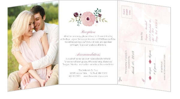 How to word wedding invitations invitation wording ideas etiquette pink modern watercolor all in one wedding invitation by weddingpaperie filmwisefo Choice Image