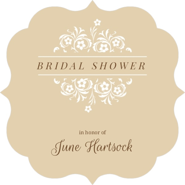 brown and white formal flowers bridal shower invites
