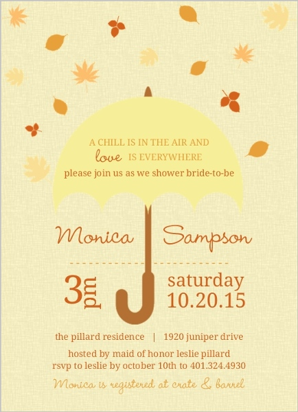 falling leaves umbrella bridal shower invites by weddingpaperiecom