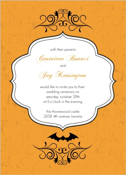 Fall bridal shower ideas themes invitations wording favors decor formal orange scroll halloween wedding invites by weddingpaperie halloween bridal shower invitations filmwisefo