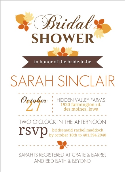 modern fall leaves bridal shower invites by weddingpaperiecom