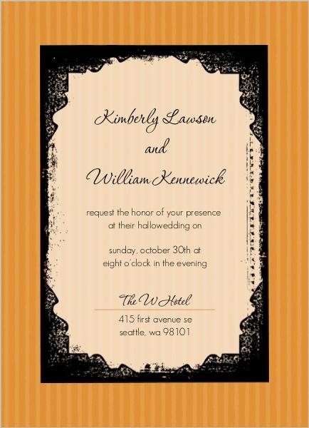 Orange And Black Halloween Wedding Invitations By WeddingPaperie.com.