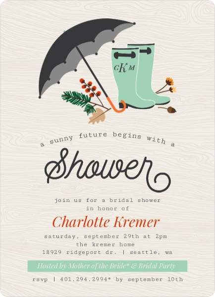 Fall bridal shower ideas themes invitations wording favors decor rustic rain boots bridal shower invitations by weddingpaperie filmwisefo Images